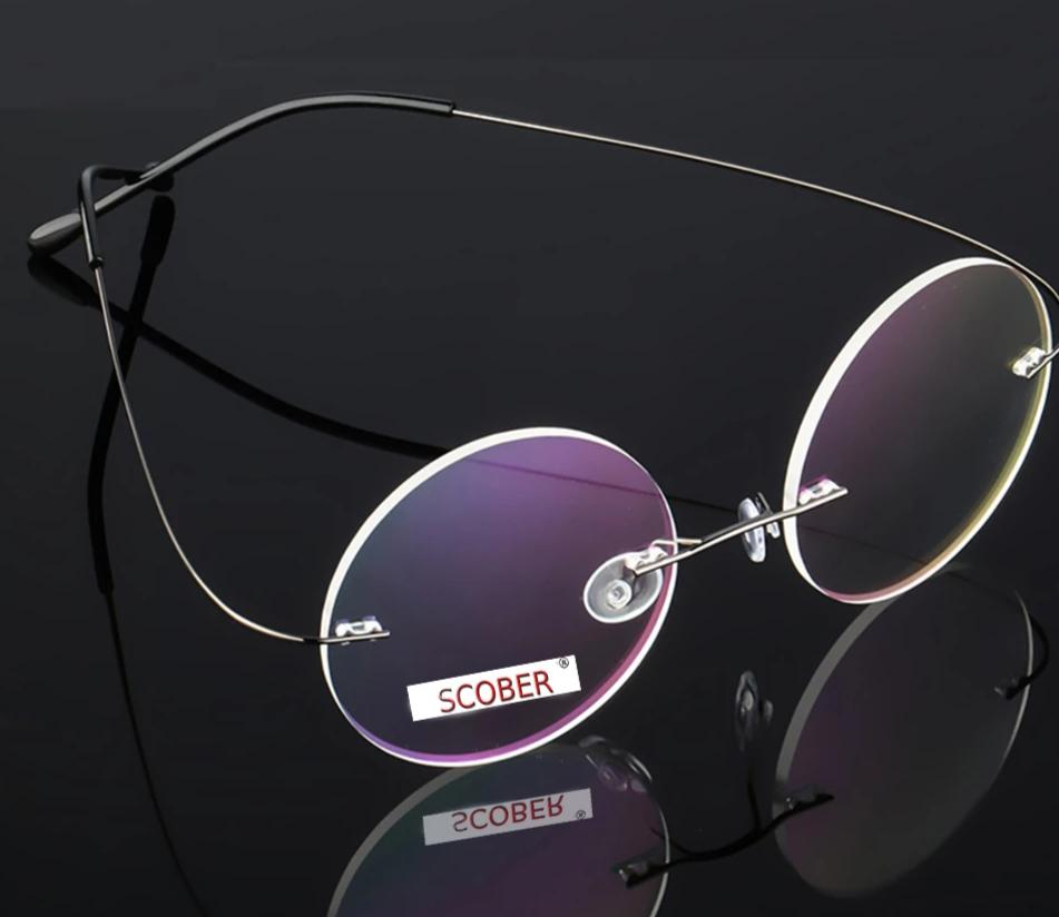 Ultra-light Rimless Round silver frame Reading Glasses Vintage Classic TREND Spectacles +1 to+4 Progressive Or Photochromic Lens-modlily