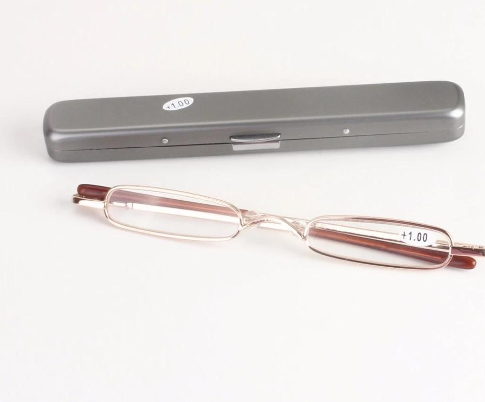 Chashma New Fashion Women Men Pen Style Slim Small Metal Reading Glasses with Case-modlily