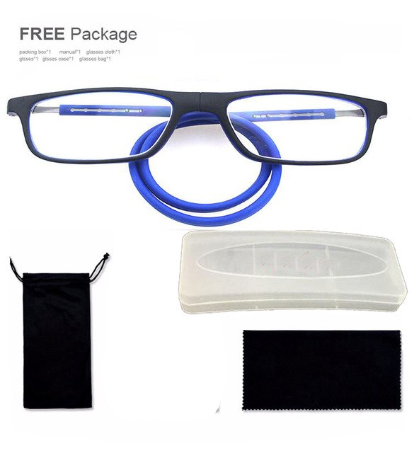 New Plastic Titanium magnetic Optical reading glasses Flexible leg Adjustable Hanging Neck Folding glasses Front Connect glasses-modlily