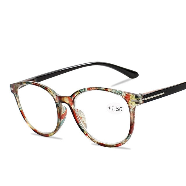 Floral Cat's Eye Reading Glasses with Diopters Women's Spectacles Degree Eyeglasse Frame for Sight +1.0 +1.5 2.0 2.5 3.0 3.5 4.0-modlily