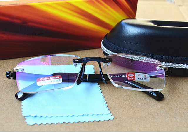 Rimless Metal Frame Aspherical Resin Ultralight Hmc Coating Reading Glasses with case Women Men Eyewear +1.0 1.5 2 2.5 3 3.5 4-modlily