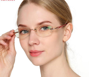 Women Rhinestone Reading Glasses Rimless Anti Blue Light Womens Alloy Frame Readers Eyeglasses with Diopter-modlily