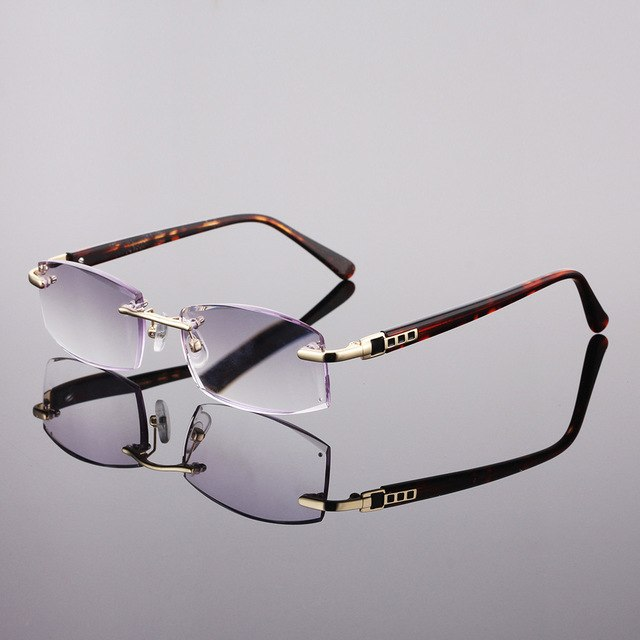 61d43d3abb8d6 CLARA VIDA 2018 NEW DIAMOND SHAPED LENSES RIMLESS HIGH QUALITY LUXURY  DESIGNER READING GLASSES +1