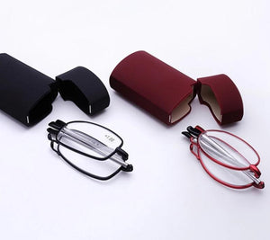 ELECCION Eyewear Readers MINI Folding Reading Mirror Men and Women Small Glasses Frame Red Black Glasses With Original-modlily