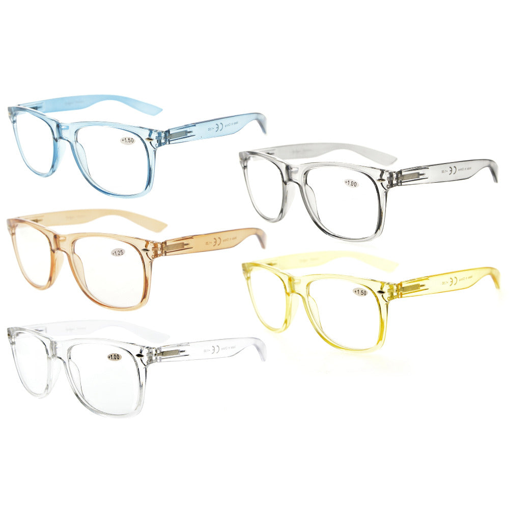 R133Mix 5 Pack Comfortable Spring Hinges Large Simple Reading Glasses (One for each color) +0.00-+4.00-modlily