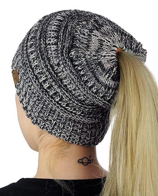 Hirigin Women Beanies Hat Women's Winter Hat Girl Stretch Knit Hat Messy Bun Ponytail Beanie Holey Warm Hats 2018 Fashion New-modlily