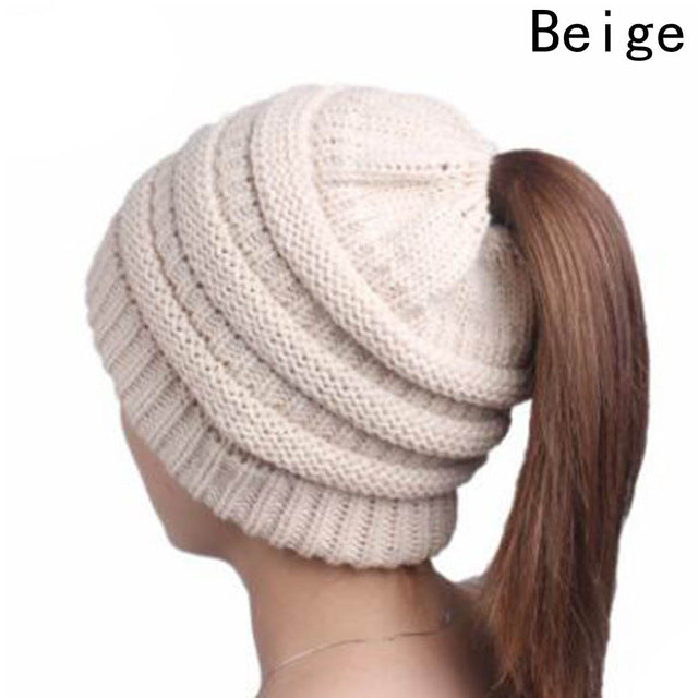 11 Colors Ponytail Beanie Hat Women Crochet Knit Cap Winter Beanies Warm Caps Female Knitted Stylish Hats For Ladies Fashion-modlily