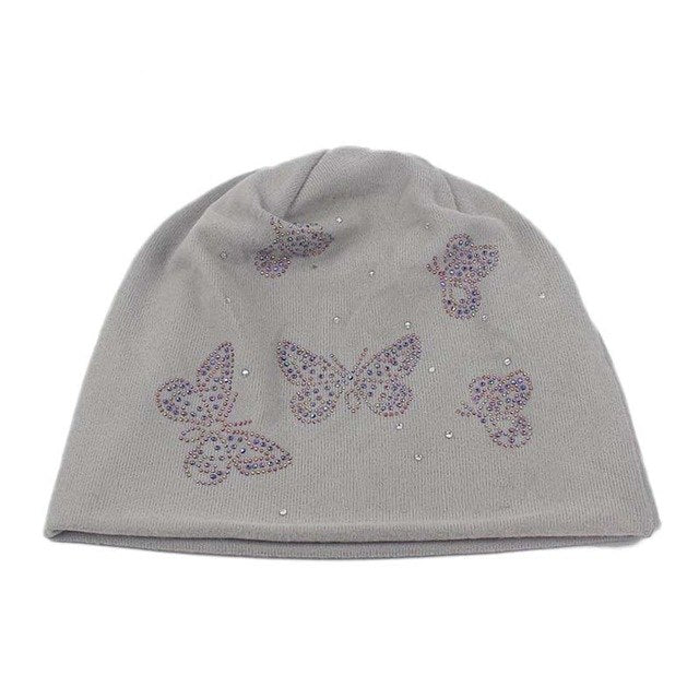 2018 Spring Autumn Winter Casual Style Women Warm Knitted Hats & Caps Rhinestones Butterfly Knitted Beanies Skullies for Females-modlily