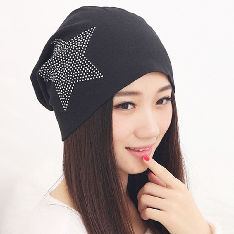 Fashion Women Beanie Skullies Hat Casual Outdoor Crystal Ski Caps Thick Winter Warm Hats New-modlily