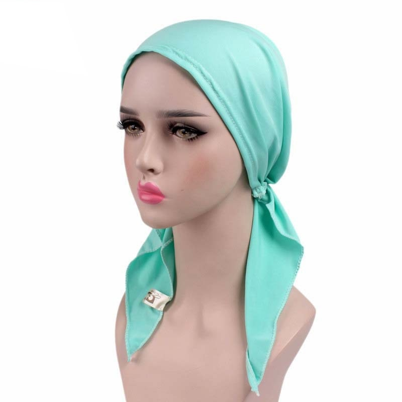 Female Skullies Wrinkle Muslim Turban Solid Cotton Cap Ruffle Beanies Tripe Scarf Chemotherapy Hat Beanies Headwear for Women-modlily