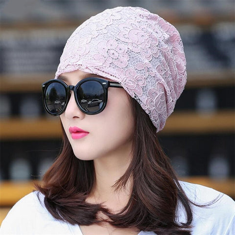 YGYEEG Women's Beanie Pilecap Female Spring And Autumn Lace Thin Pocket Cutout Mesh Hat Month Of Cap Toe Cap Turban Hat Covering