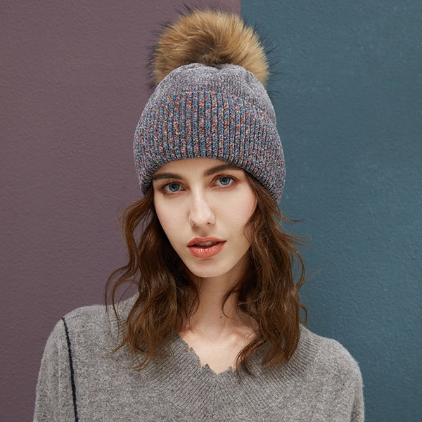 588a975e334 Hat Female 2018 Winter Chenille Beanie Women Real Raccoon Fur Pompoms Hats  Knitted Wool Warm Beanies