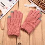 Women Gloves Winter Woolen Knitted Gloves Touch Screen Mittens Keep Warm Female Winter Full Finger Stripe Gloves Fashion Autumn-modlily