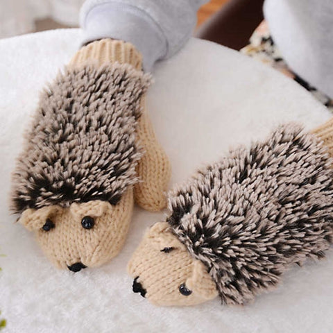 Women's Winter Gloves Without Fingers Knitting Wool Warm Mittens Fingerless Cartoon Hedgehog Gloves
