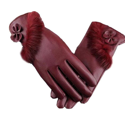 YRRETY Fashion Women's Bowknot PU Gloves Touched Screen Warm Leather Winter Thicken Ladies Glove Elegant Winter Finger Gloves