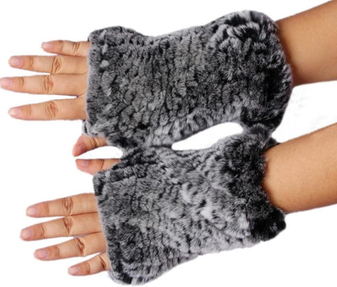 ZDFURS * 2017 New Women's 100% Real Genuine Knitted Rex Rabbit Fur Winter Fingerless Gloves Mittens Arm Sleeve