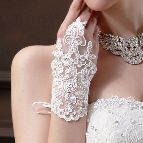 snowshine YLW Bride  Party Fingerless Rhinestone Lace Satin Gloves free shipping