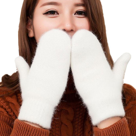 YGYEEG Full Finger Sports White Winter Gloves 2018 Fashion Girls Skate Wool Gloves Femme Mittens Warmer Women Keep Warm Gloves