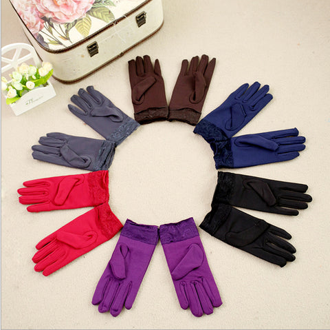 New lace women gloves female winter lovely milk fiber napped Unisex mittens ladies gloves for girls winter warm glove