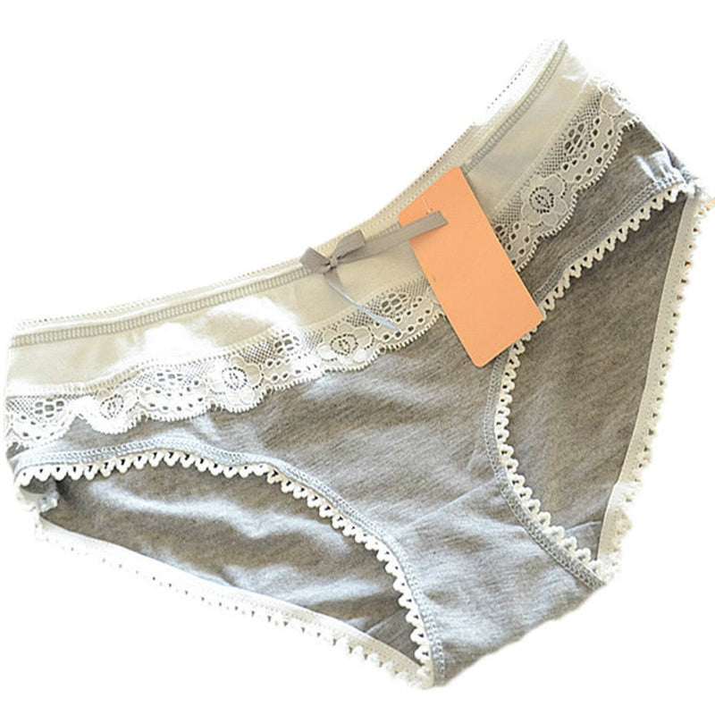 1 PC Candy Color Women Girls Cotton Soft Lace Bow-knot Underwear Briefs Knickers-modlily