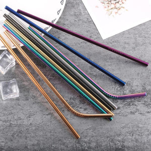 Reusable Drinking Straw Stainless Steel Metal Straight and Bent Drinking Straws For Home Party Barware Accessories-modlily