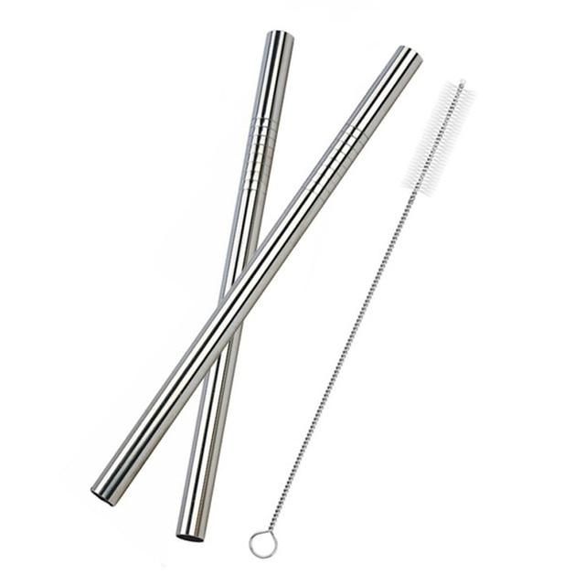 UPORS 2Pcs Drinking Straws Reusable Stainless Steel Straws Extra Wide 12MM Straw With Cleaner Brush Bubble Tea Straws Yerba Mate-modlily