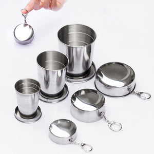 75/140/240ml Stainless Steel Flexible Folding Cup Ourdoor Travel Camping Cup With Keychain Portable Foldable Drinkware-modlily