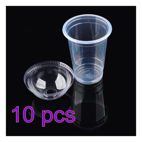 Wholesale 10pcs/Lot Clear Disposable Cups Plastic Tea Coffee water Cup With Lids 450ml For Iced Coffee Bubble Boba Smoothie