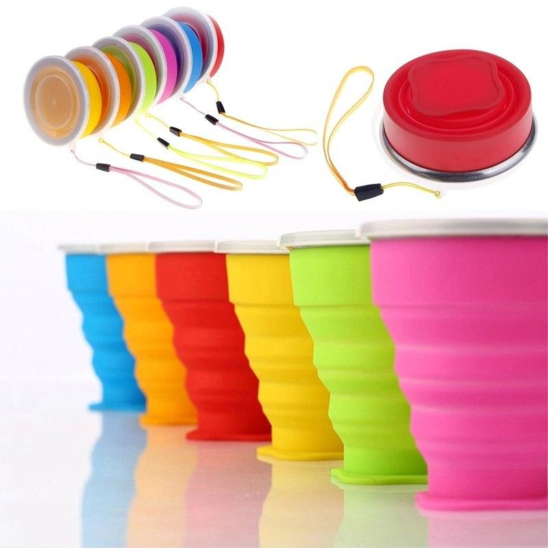 1 pc Silicone Quite Convenient Outdoor Travel Retractable Folding Cup Telescopic Collapsible Cups 6 Colors-modlily