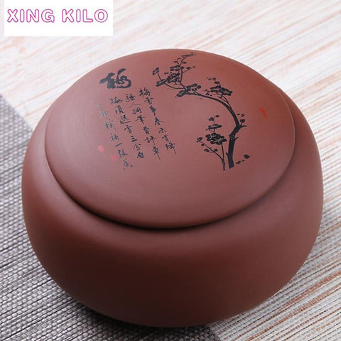 XING KILO Large Tea Caddy Ceramic Pu'er Tea Sealed Jar Original Mine Tea Set Purple Sand Box-modlily