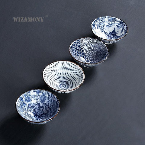 WIZAMONY Drinkware Bue and White Chinese Porcelain Tea Bowl for puer Teacup Tea Set Ceramic Atique Glaze Kung Fu Tea Master Cup-modlily