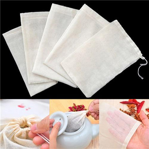 Wholesale 10Pcs Pure Cotton Bubble Bags Hash Bubble Hash Filter Medicinal Materials Stew Soup Milk Tea Strain Herb Filter Bag