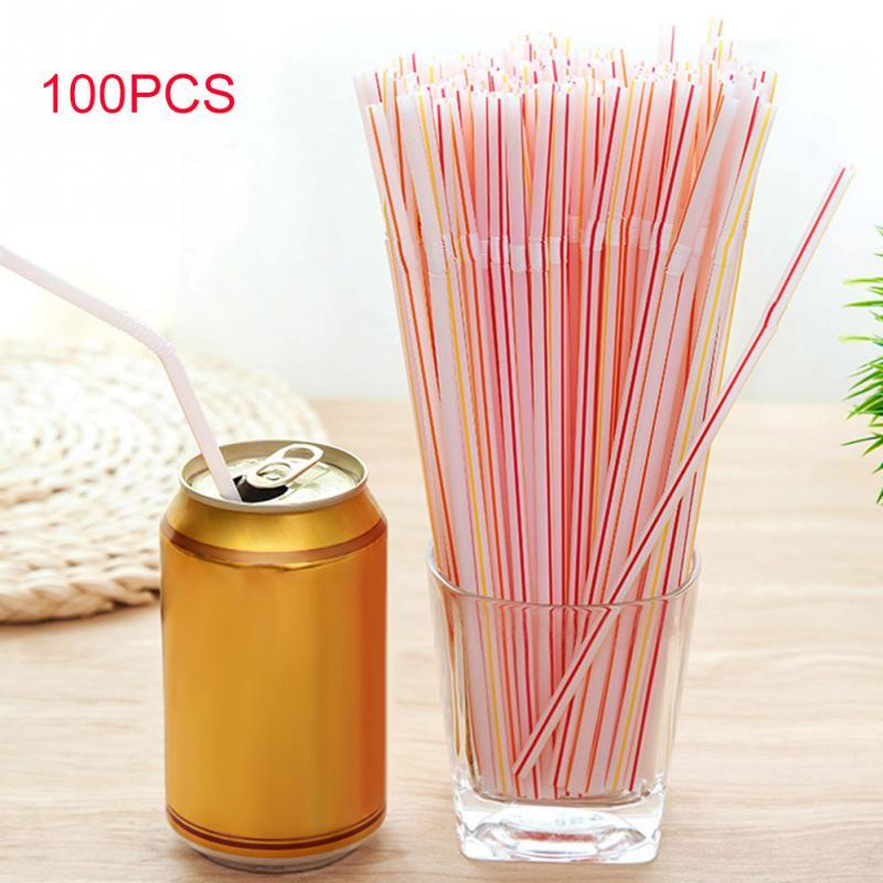 100PCS Curved Plastic Drinking Straw Cocktail Lounge Wedding Birthday Party Special Summer Drinking Straws-modlily