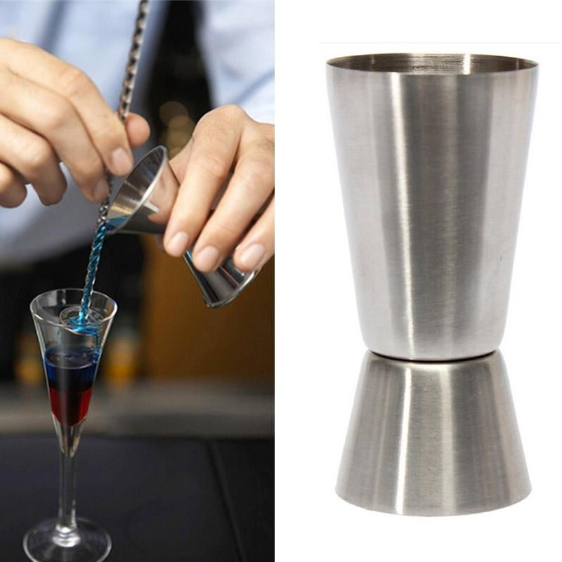 1 pcs Practice New 25- 50ml 2-End Jigger Shot Measure Cup Cocktail Drink Wine Shaker Stainless Bar utensilios barman-modlily