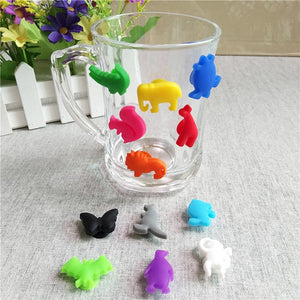 12pcs/Set Party Dedicated Animal Suction Cup Wine Glass Silicone Label Silicone Wine Glasses Recognizer Marker Tea Holder 977160-modlily