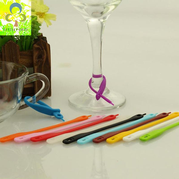 12 pcs/lot Wine Glass Recognizer Party Dedicated Strip Silicone Label Rubber Wine Glasses Marker Wine Accessories GYH-modlily