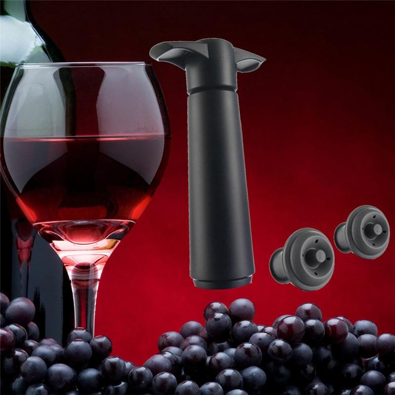 1 Pump+2 Stopper Wine Bottle Vacuum Saver Tool Drinks Beer Silicone Vacuum Plug Air Pump Set Sealing Preserver Drop Ship-modlily