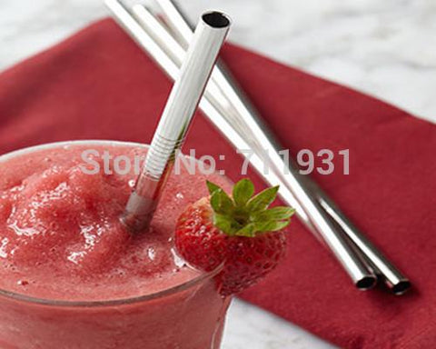 WOWSHINE Promotion! Free shipping 10pcs/lot Metal drinking straw stainless steel straw food grade 8MM*215MM*0.55MM