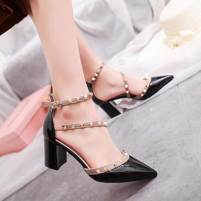2018 NEW Fashion woman High heels shoes Ladies Sexy Pointed Toe pumps Buckle rivets nude heels dress wedding shoes-modlily