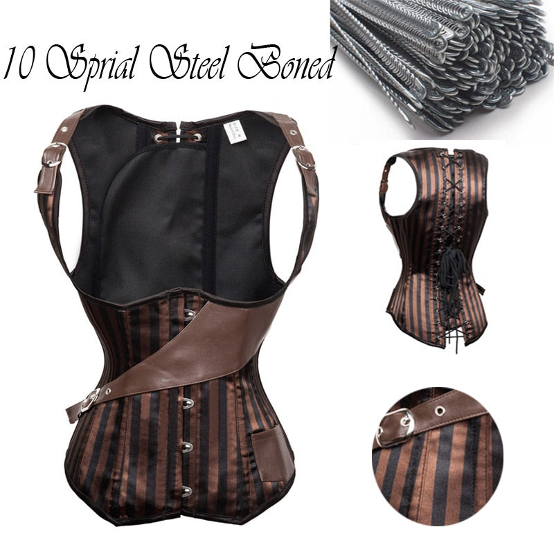 ae0b22e895 10 Sprial Steel Boned Waist Trainer Corset Pirate Burlesque Costumes Corsets  And Bustiers Top Underbust Steampunk