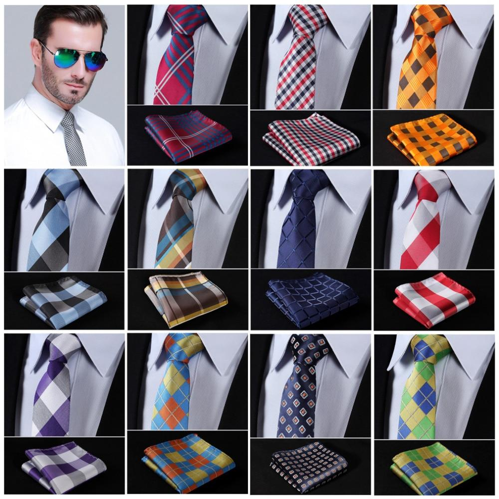 "Check 2.75"" Slim Narrow Tie Necktie Men Pocket Square handkerchief set Suitmodlilj-modlily"