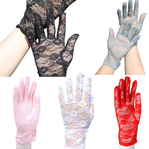 Women's Lace Hollow-Out Gloves Sun Protection Accessories Skid Resistance Pattern Lace Gloves