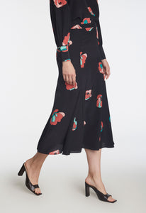 Ascot Silk Skirt - Raspberry Blush/Grove