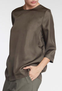 Ayra Silk Blouse - Dark Duco