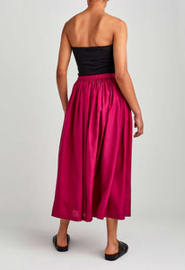 Bloom Silk Skirt - Sangria