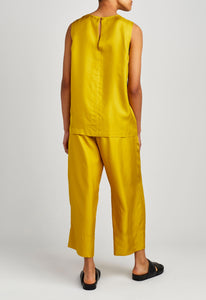 Carla Silk Twill Top - Canary