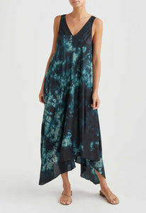 Gould Silk Dress - Loden/Black Tie Dye