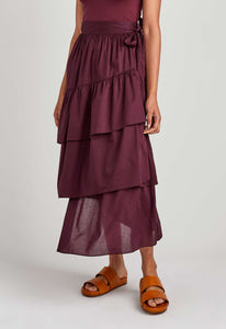 Iku Cotton Skirt - Dark Plum