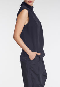 Mathis Silk Top - Darkest Navy