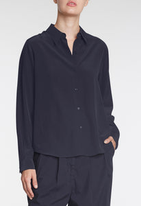 Opal Silk Shirt - Darkest Navy